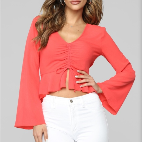 Long sleeve Top color Coral size large